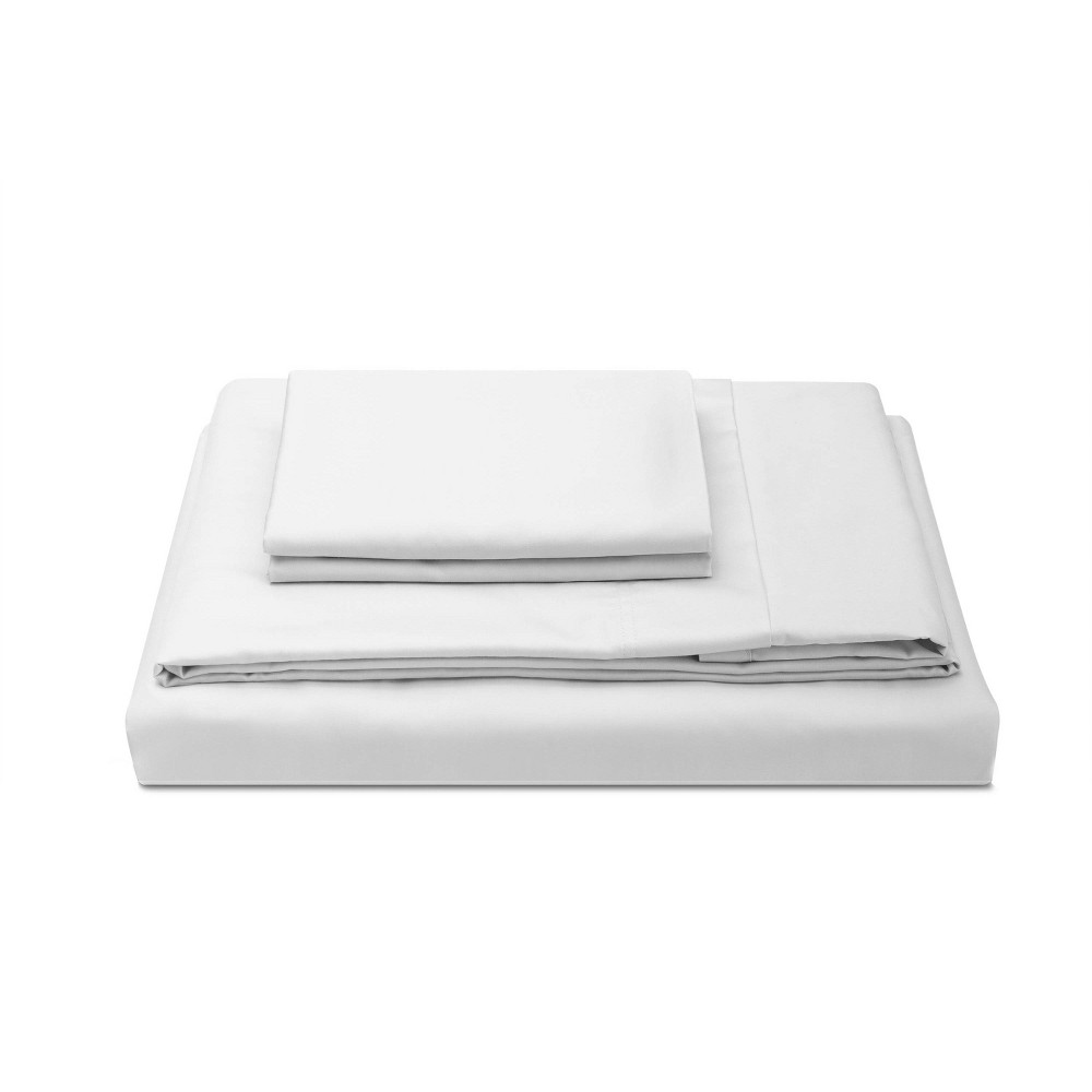 Twin Xl 300 Thread Count Percale Solid Sheet Set White Molecule