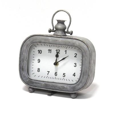 """7"""" x 8"""" Alexander Table Clock Gray - Stratton Home Décor"""
