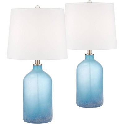 360 Lighting Coastal Table Lamps Set of 2 Frosted Sea Blue Glass White Drum Shade for Living Room Family Bedroom Nightstand