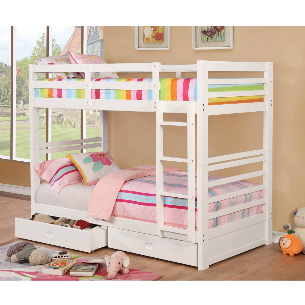 Image of Emma Kids Twin Over Twin Bunk Bed White - HOMES: Inside + Out