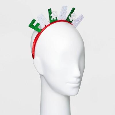 Holiday Novelty Fa La La Glitter Headband- Berry Red