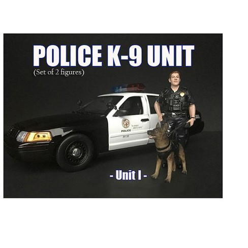 Police Officer Figure with K9 Dog Unit I for 1/18 Scale Models by American Diorama - image 1 of 2