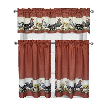 GoodGram Roosters & Sunflowers Complete 3 Piece Kitchen Curtain Tier & Valance Set - 58 in. W x 36 in. L