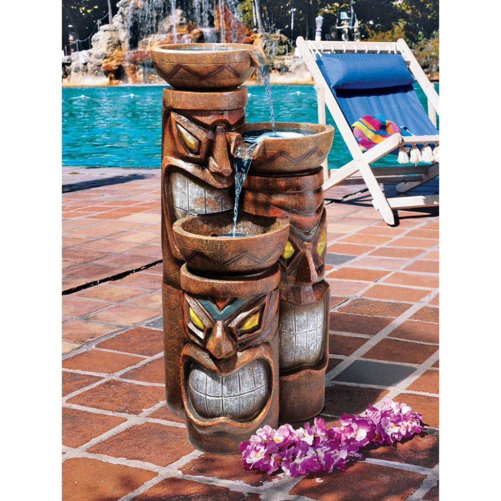 Image of Cascading Aloha Tiki Three-Bowl Garden Fountain - Acorn Hollow