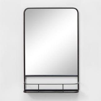 "20""x30"" Pharmacy Mirror with Metal Shelf Black - Threshold™"