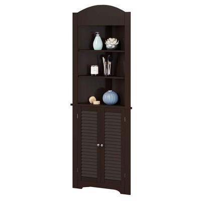 Corner Linen Cabinet with Shutter Doors Espresso Brown - RiverRidge