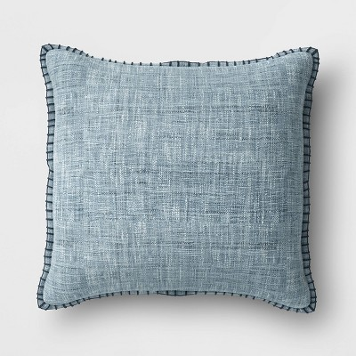 Oversized Square Textured Pillow withBlanket Stitch Edge Blue - Threshold™