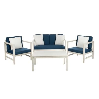 Montez 4pc Outdoor Set With Accent Pillows - White/Navy - Safavieh