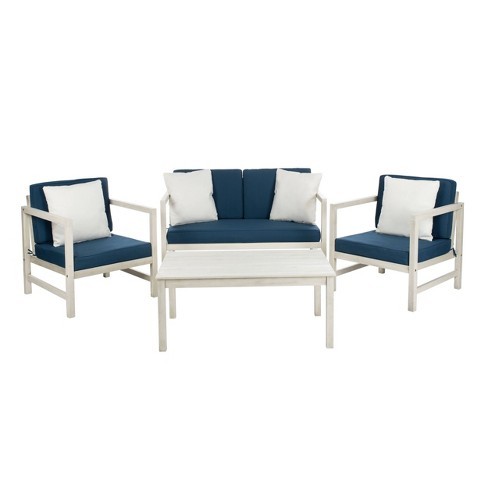 Montez 4pc Outdoor Set With Accent Pillows - White/Navy - Safavieh - image 1 of 4