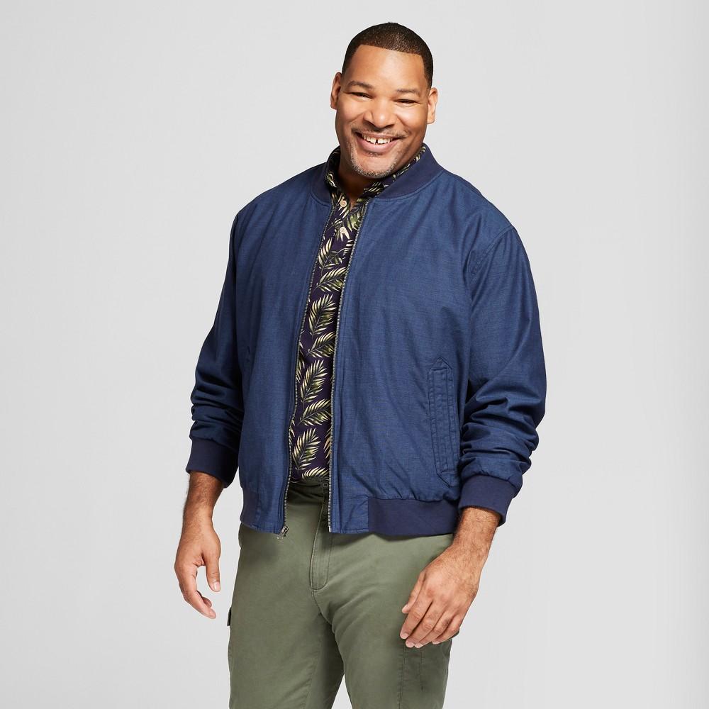 Men's Tall Twill Bomber Jacket - Goodfellow & Co Blue Chambray Xlt