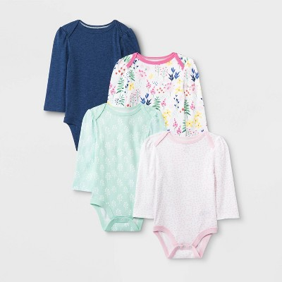 Baby Girls' 4pk Long Sleeve Wildflower Bodysuits - Cloud Island™ 0-3M