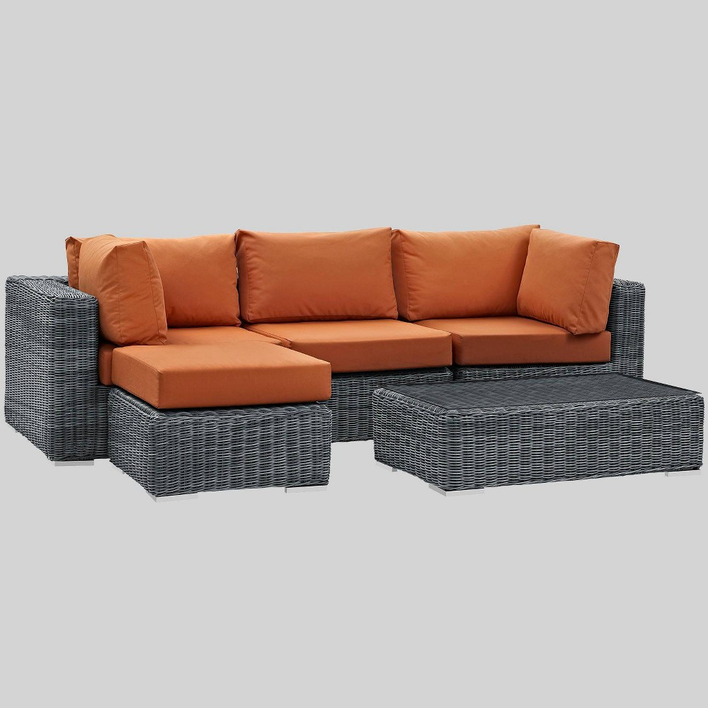 Summon 5pc Outdoor Patio Sectional Set with Sunbrella Fabric - Tuscan - Modway