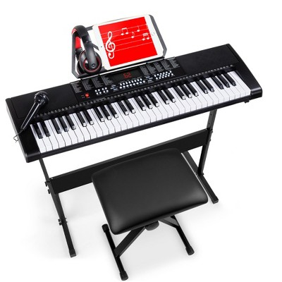 Best Choice Products 61-Key Beginners Electronic Keyboard Piano Set w/ LED, 3 Teaching Modes, H-Stand, Stool, Microphone