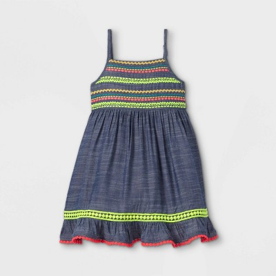 Toddler Girls' Embroidered Midi Tank Dress - Cat & Jack™ Dark Blue
