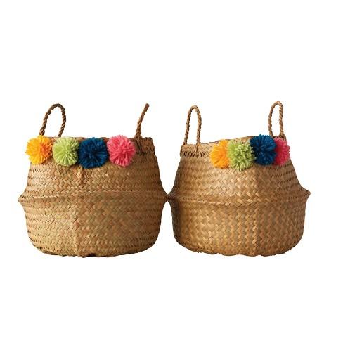 Round Palm Leaf Collapsible Pom Pom Baskets Set of 2 - 3R Studios - image 1 of 2