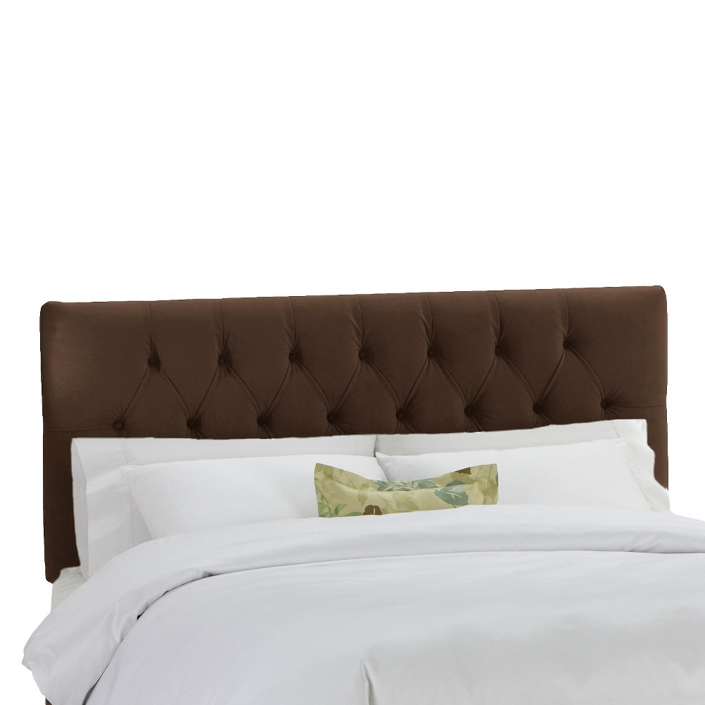 California King Jasmine Tufted Upholstered Headboard Brown Velvet - Cloth & Co.