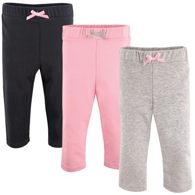Luvable Friends Baby and Toddler Girl Cotton Leggings 3pk, Black
