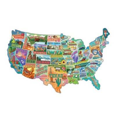 TDC Games American Road Trip 1000 Piece Jigsaw Puzzle in the Shape of the USA 31 inches long - Cool Wall Art