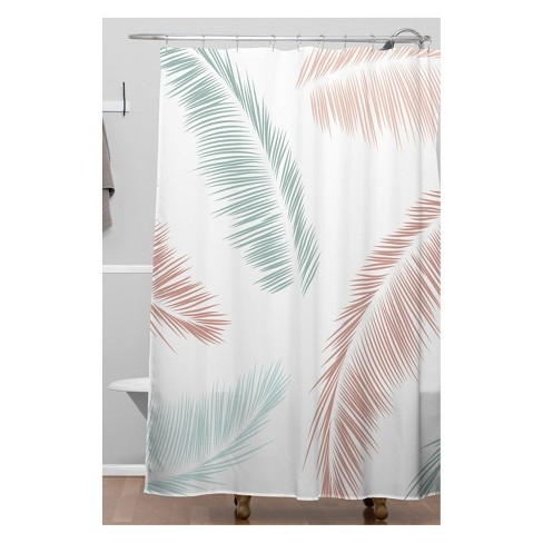 Kelly Haines Tropical Palm Leaves Shower Curtain White