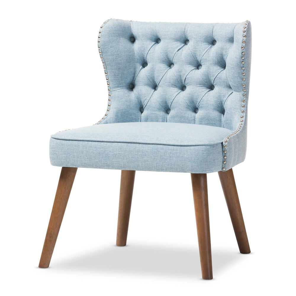 Scarlett Mid - Century Modern Wood and Fabric Upholstered Button - 1 Seater Accent Chair - Light Blue,