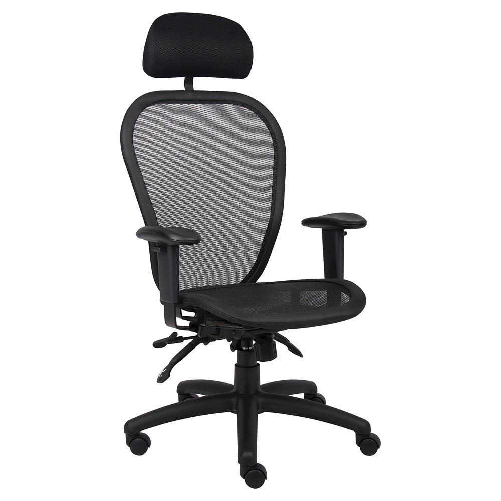 Multi Function Mesh Chair with Headrest Black - Boss Office Products