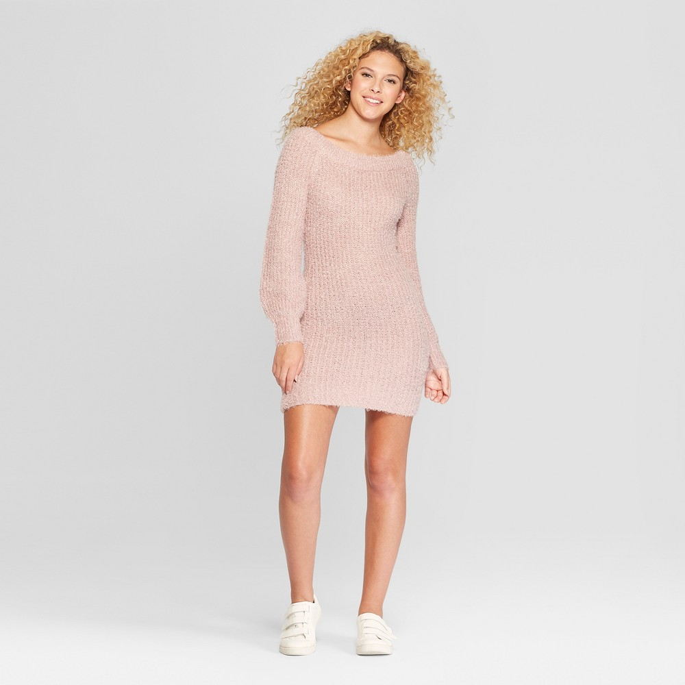 Women's Long Sleeve Off the Shoulder Eyelash Sweater Dress - Almost Famous (Juniors') Pink L
