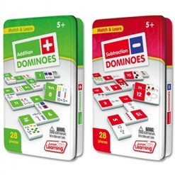 Junior Learning Addition and Subtraction Dominoes Game Set - 56 Dominoes