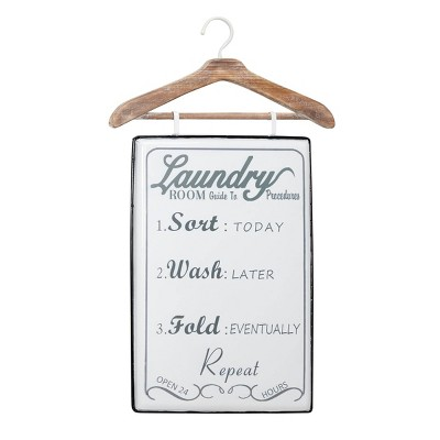 "18"" x 32"" Farmhouse Style Laundry List Metal Wall Decor with Wood Hanger Gray and White - Olivia & May"
