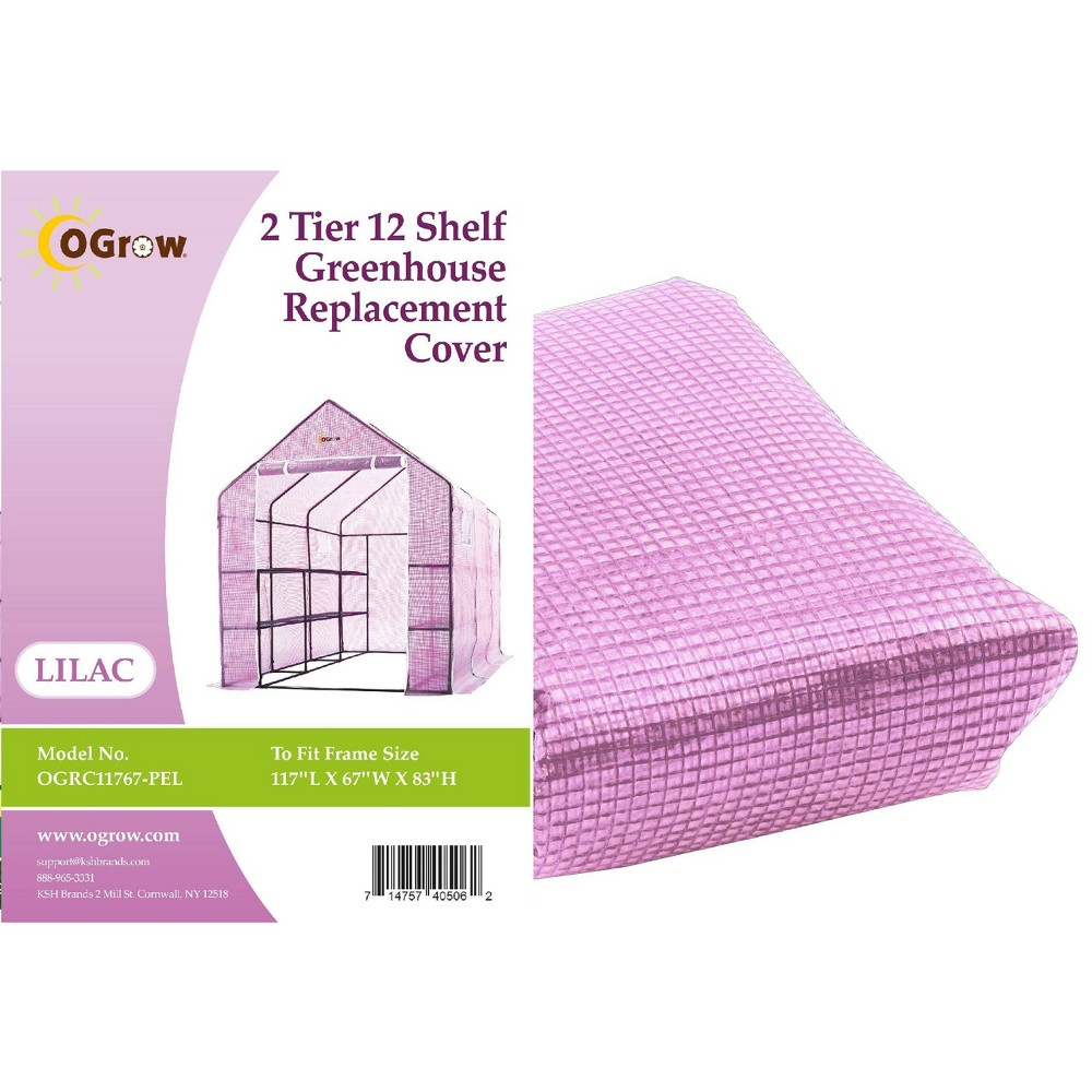 Image of 2 Tier 12 Shelf Greenhouse PE Replacement Cover Lilac - OGrow