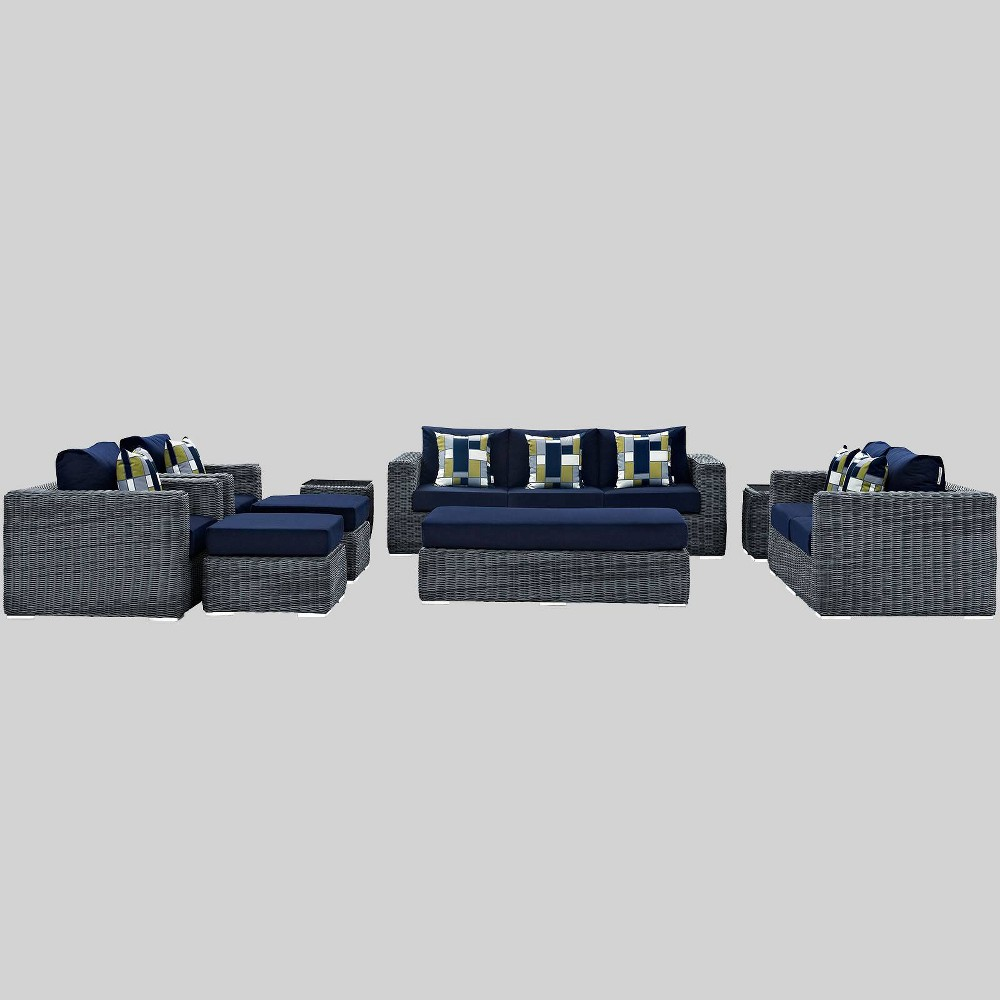 Awesome Summon 9Pc Outdoor Patio Sunbrella Sectional Set Navy Blue Bralicious Painted Fabric Chair Ideas Braliciousco