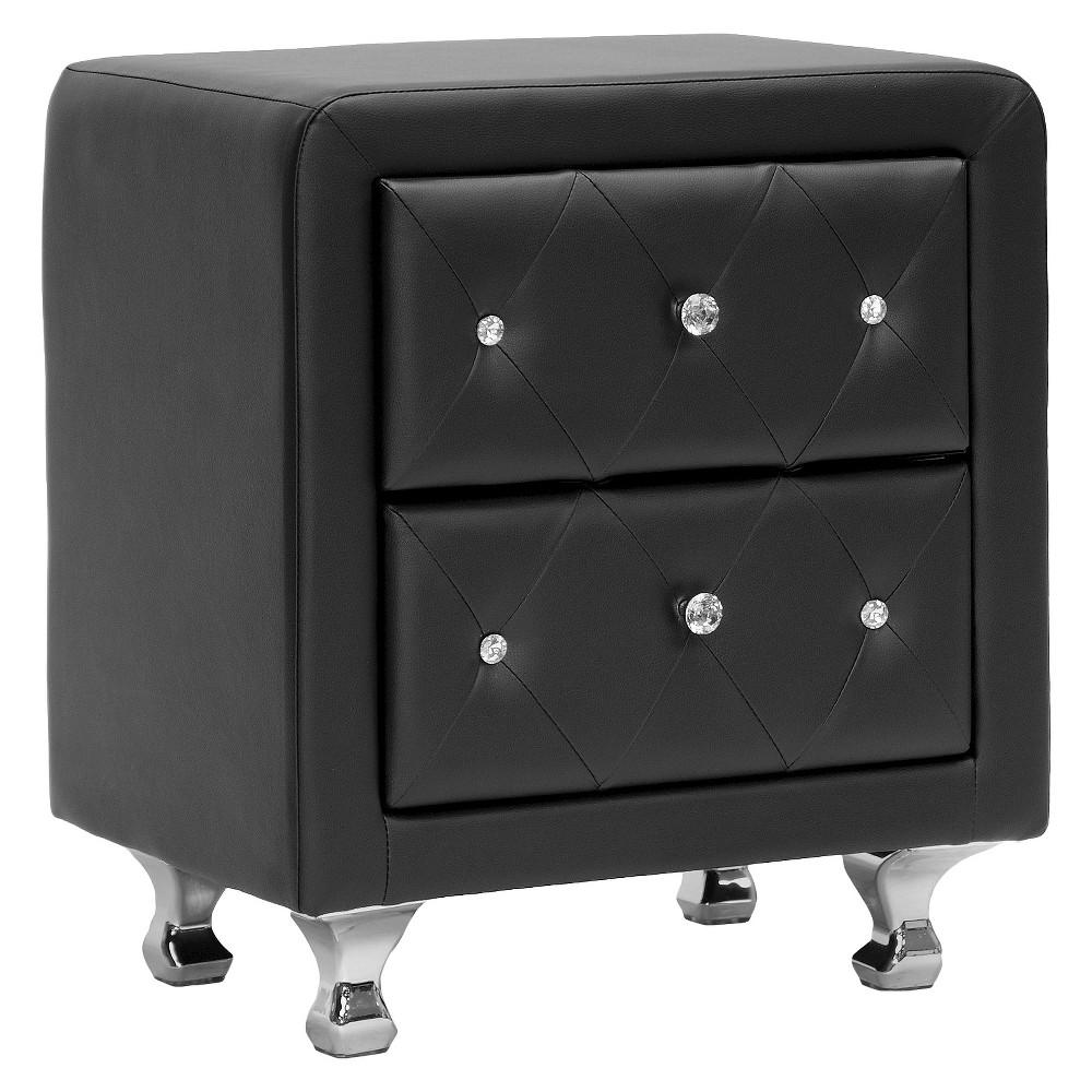 Stella Crystal Tufted Upholstered Modern Nightstand - Black - Baxton Studio
