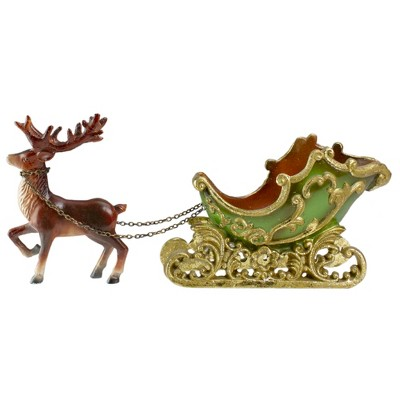"""Northlight 8.5"""" Green and Gold Sleigh with Reindeer Christmas Table Top Decor"""