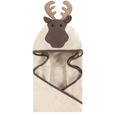 Hudson Baby Infant Cotton Animal Face Hooded Towel, Modern Moose, One Size