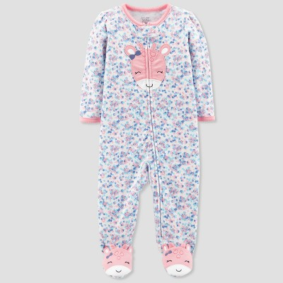 Baby Girls' Floral Giraffe Cotton Sleep N' Play - Just One You® made by carter's Purple 6M