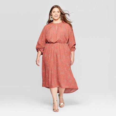 Women\'s Plus Size Floral Print Long Sleeve V-Neck Midi Dress - Ava & Viv™  Red