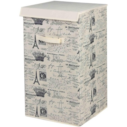 Home Basics Postcards From Paris Vintage French Rectangular Non-Woven Hamper With Velcro Closure Lid, Natural - image 1 of 3