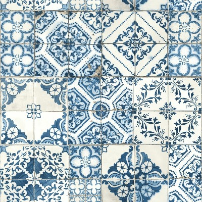 Roommates Mediterranian Tile Peel Stick Wallpaper Blue Target