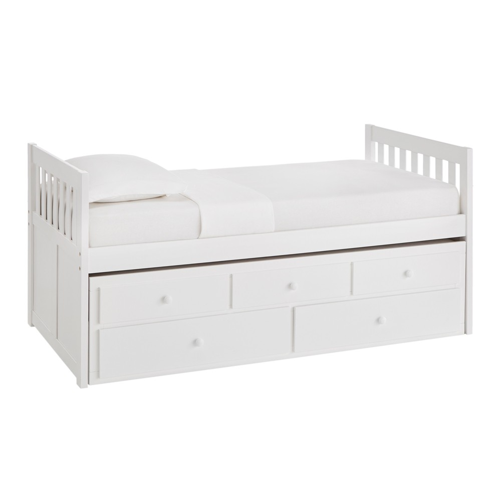 Twin Over Twin Elliot Captains Bed with Trundle White - Inspire Q