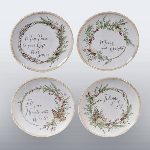 """6"""" 4pk Earthenware Holly and Ivy Canape Plates White - Certified International - image 1 of 1"""