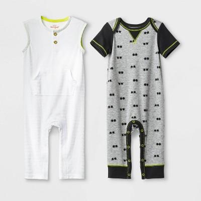Baby Boys' Knit Romper Set - Cat & Jack™ White/Gray 3-6M