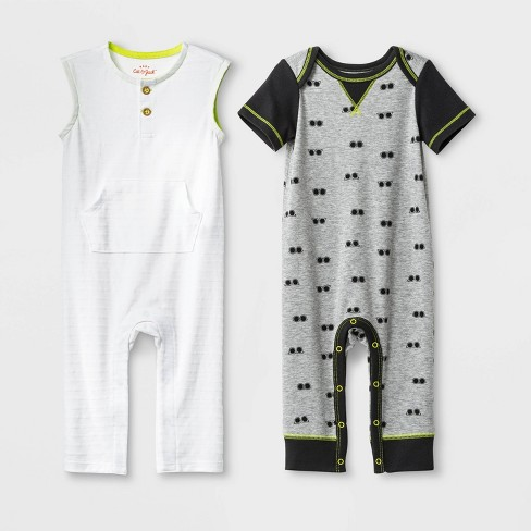 Baby Boys' Knit Romper Set - Cat & Jack™ White/Gray - image 1 of 1