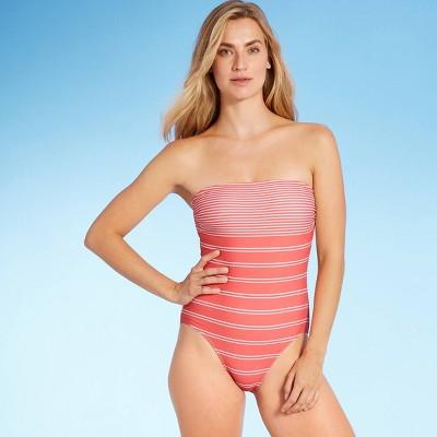 Women's Modern Lines Bandeau Classic One Piece Swimsuit - Kona Sol™ Multi Stripe