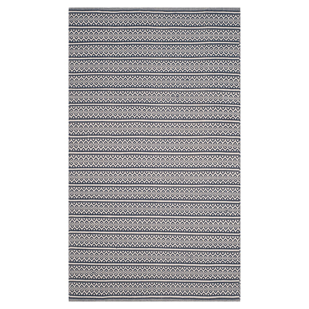Ivory/Navy (Ivory/Blue) Geometric Woven Area Rug - (5'X8') - Safavieh