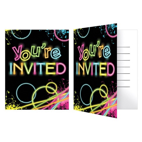 8ct Glow Party Invitations Target