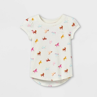 Toddler Girls' Unicorn Short Sleeve T-Shirt - Cat & Jack™ Cream
