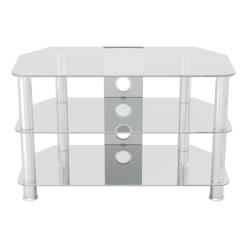 "Image of ""42"""" TV Stand with Cable Management - Silver/Clear"""