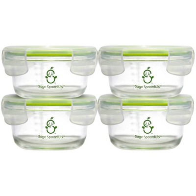 Sage Spoonfuls Tough Glass Bowls 4pk Durable Baby Food Storage Container - Clear - 7oz