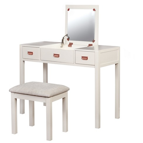 audrey vanity set white linon target. Black Bedroom Furniture Sets. Home Design Ideas