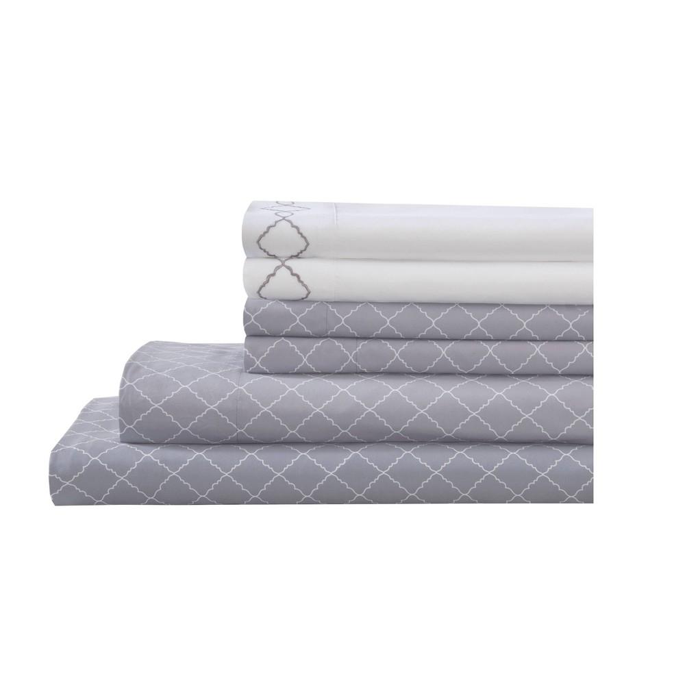 Full 6pc Microfiber Embroidered Revina Printed Bonus Sheet Set Gray Elite Home Products