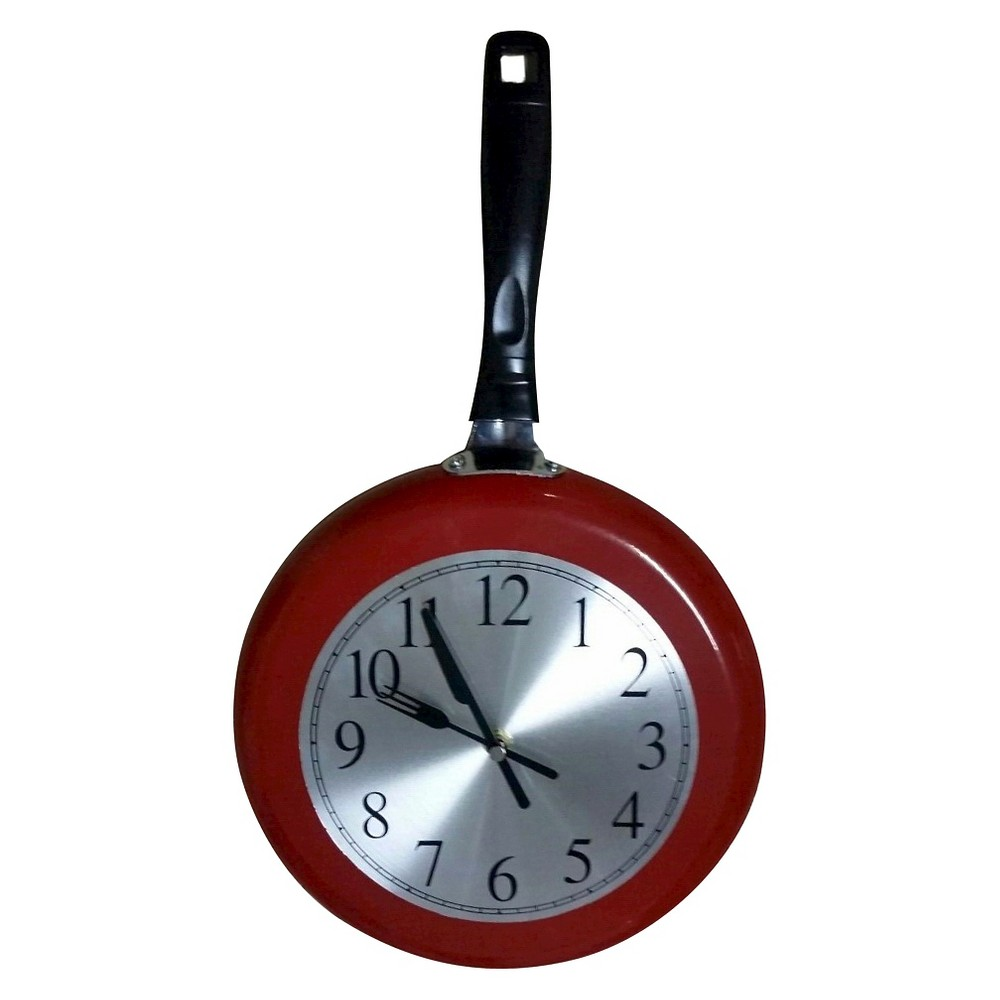 Image of Frying Pan Clock Red - Creative Motion Industries